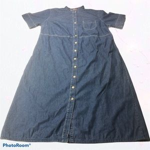 White Stag Denim Maxi Dress Blue Long Modest